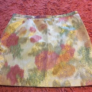 Watercolor print gold threaded H&M skirt